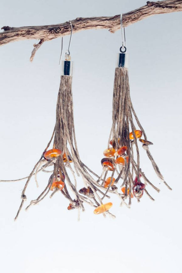Amber Tassel Earrings - The Biscuit Marketplace