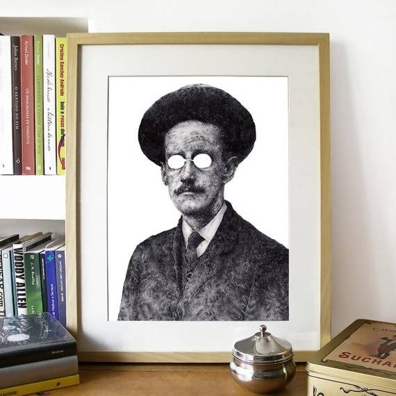 James Joyce, Irish Author - Illustration Print - The Biscuit Marketplace
