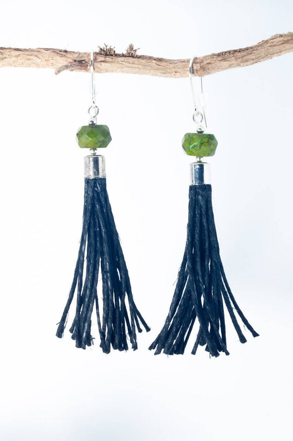 Green Howlite Tassel Earrings - The Biscuit Marketplace