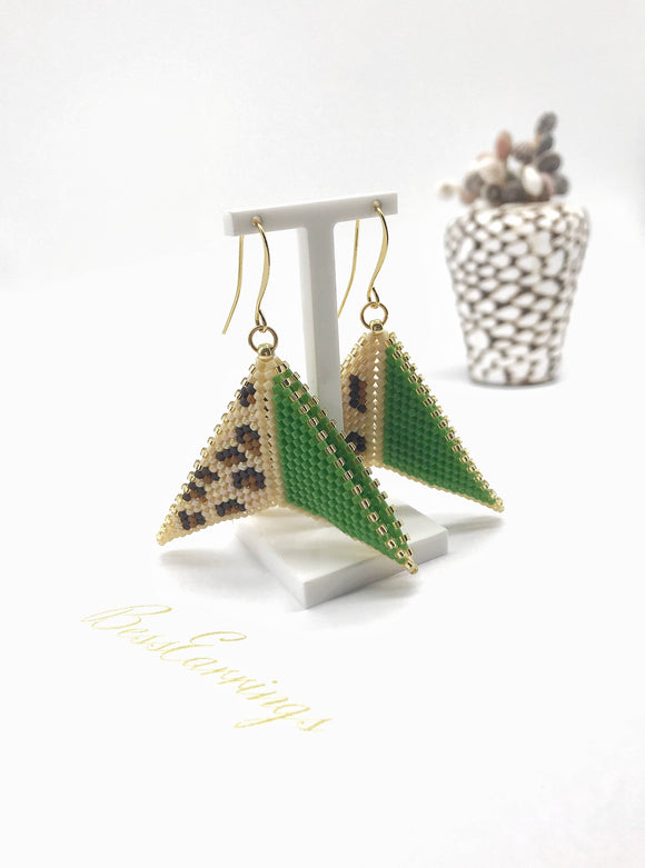 Green and Leopard Print Boomerang Earrings - The Biscuit Marketplace