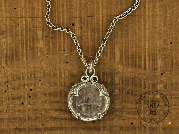 Gotland Rock Crystal Necklace, Sterling Silver & Rock Crystal diameter of 26 mm, Viking Woman jewellery, Viking Amulet - The Biscuit Marketplace