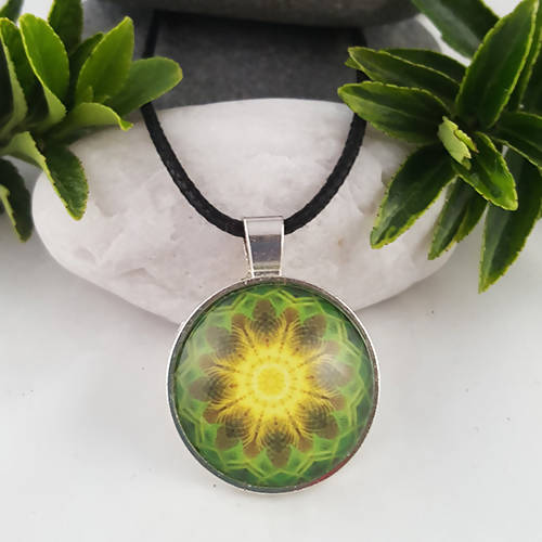 Yellow And Green Handmade Sacred Geometry Necklace - The Biscuit Marketplace