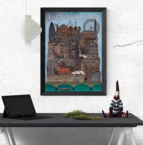 London Cityscape - Illustration Print - The Biscuit Marketplace
