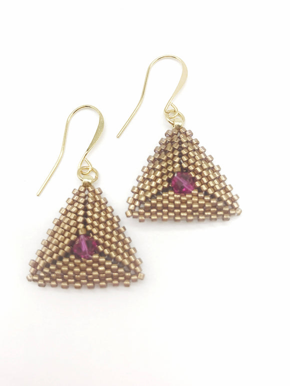 Bronze Triangle Earring with Crystal - The Biscuit Marketplace