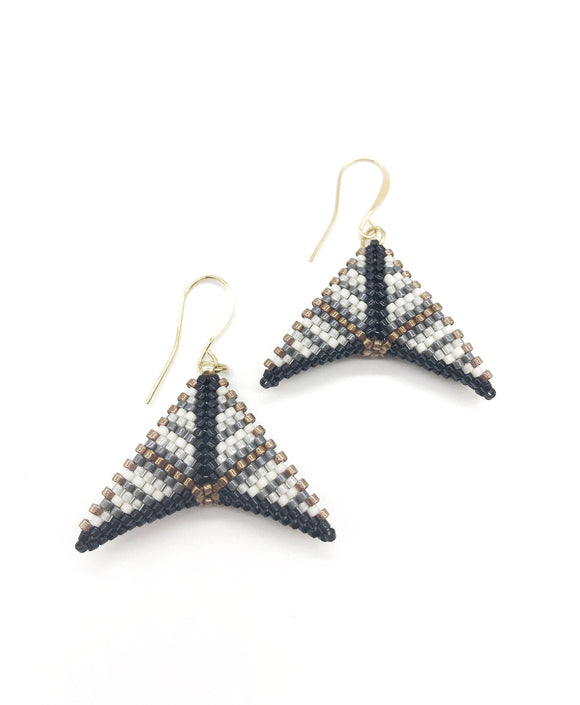 Black Grey Bronze Boomerang Earrings - The Biscuit Marketplace