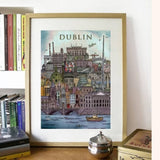 Dublin, Ireland Cityscape - Illustration Print - The Biscuit Marketplace