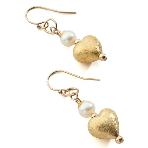 Golden Heart Earrings - Vermeil with freshwater pearl - The Biscuit Marketplace