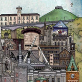 Derry / Londonderry, Ireland Cityscape - Illustration print - The Biscuit Marketplace