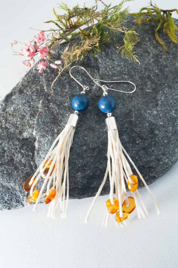 Coral Tassel Earrings - The Biscuit Marketplace