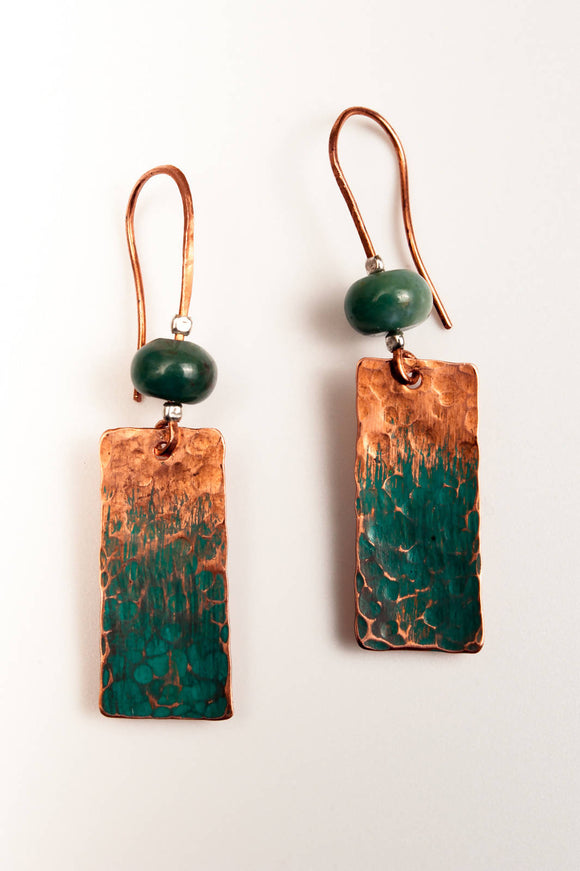 Green Copper Earrings - The Biscuit Marketplace
