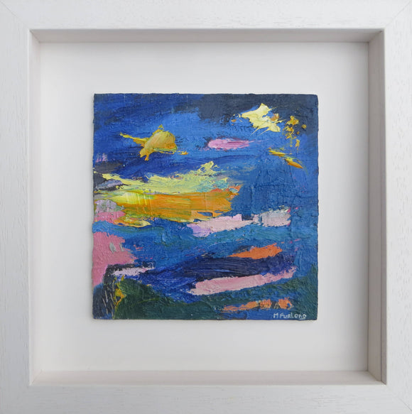 Landscape With Blue Yellow And Pink - original painting on wood (framed)