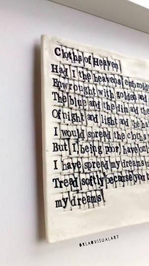 'WB Yeats - Cloths of Heaven' - Words in Porcelain - The Biscuit Marketplace