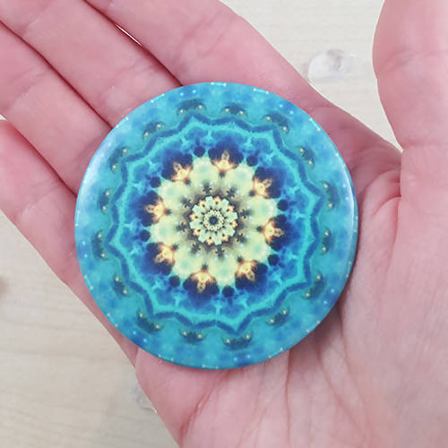 Blue And Yellow Round Cosmic Mandala Fridge Magnet - The Biscuit Marketplace