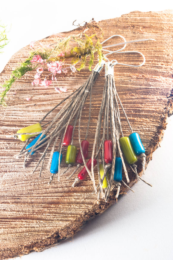 Coral RGB Tassel Earrings - The Biscuit Marketplace