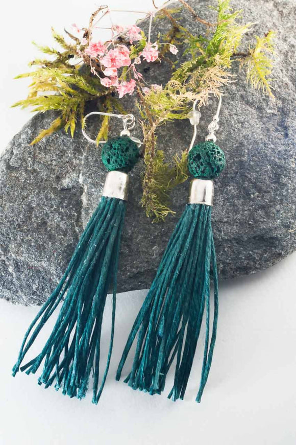 Green Lava Tassel Earrings - The Biscuit Marketplace