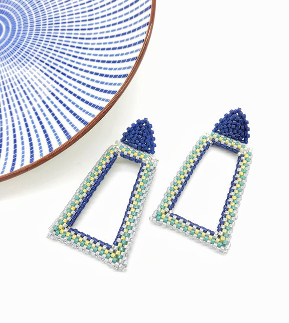 Beaded Rectangular Blue Earrings