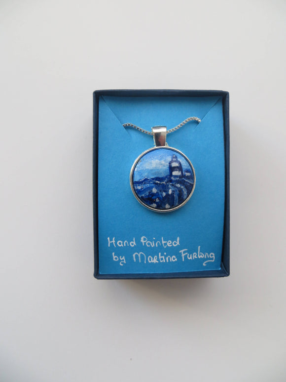 Hook In Blue - hand painted pendant - The Biscuit Marketplace