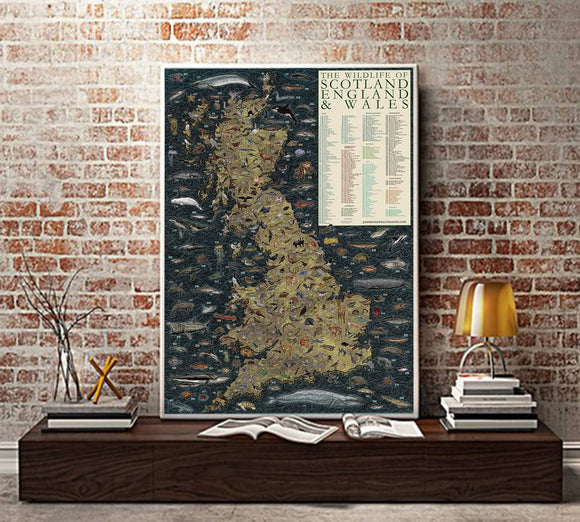 The Wildlife of Scotland, England & Wales illustrated Map - The Biscuit Marketplace