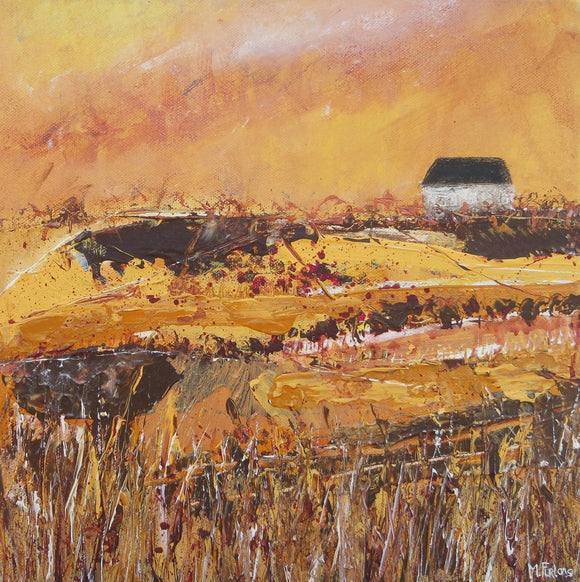 In Brown And Gold - original painting, landscape in acrylic on canvas
