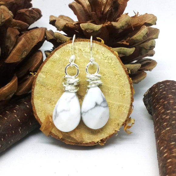 Silver Knot Topped Faceted Howlite Earrings - The Biscuit Marketplace