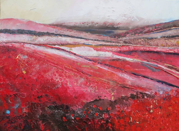 This Land In Red - original painting, abstract landscape in oil on canvas