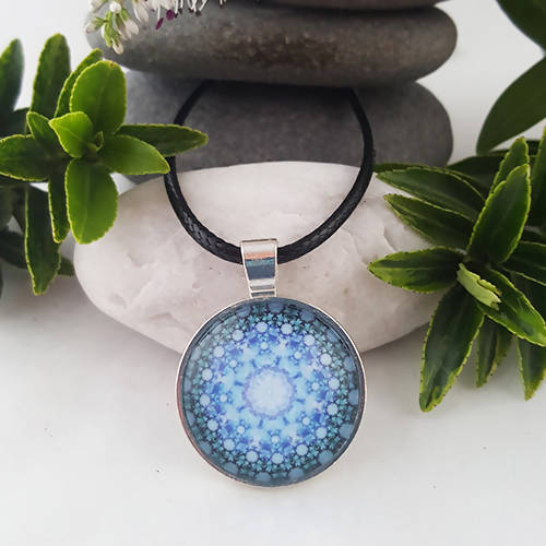 Cosmic Blue Handmade Mandala Boho Pendant - The Biscuit Marketplace