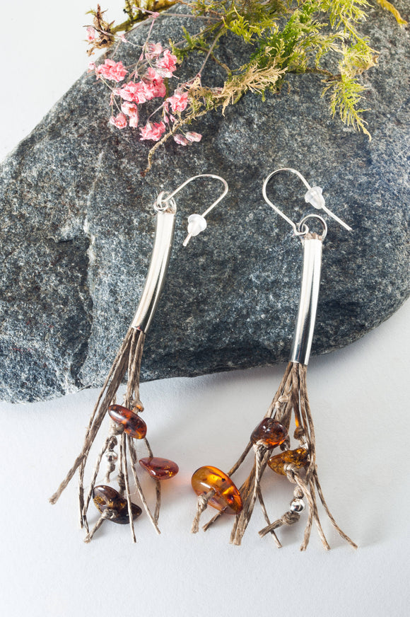 Long Amber Tassel Earrings - The Biscuit Marketplace