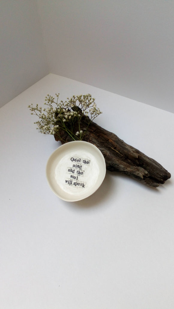 Handmade Porcelain Gratitude Bowls - 'Quiet the mind and the soul will speak' - The Biscuit Marketplace