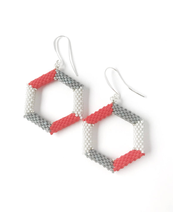 Red and Grey Hexagon Earrings