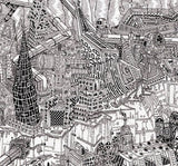 Imaginary Abstract Futuristic Cityscape - Illustration Print - The Biscuit Marketplace