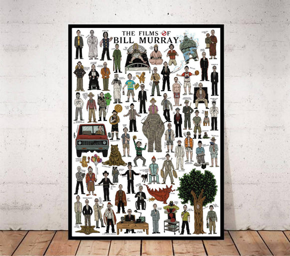 The Films Of Bill Murray - Illustrated movie poster. Fun gift idea for film buffs.