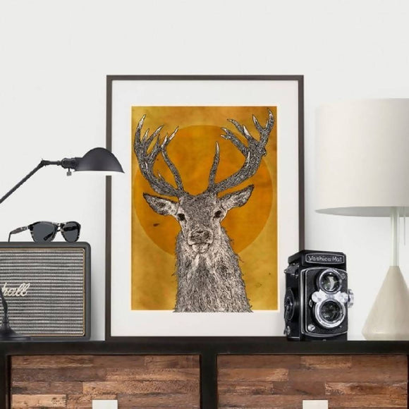 Stag Head with Antlers - Illustration Print