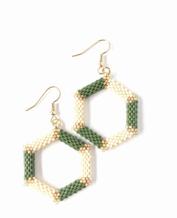 Green and Cream Hexagon Earrings - The Biscuit Marketplace