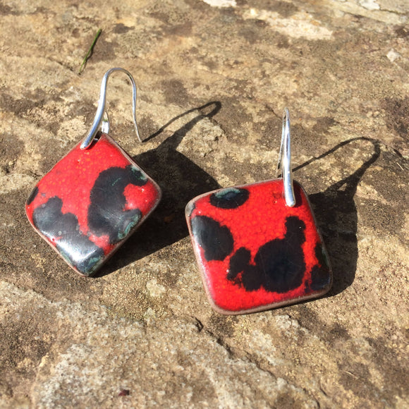 Large Black and Red Square Porcelain Drop Earrings