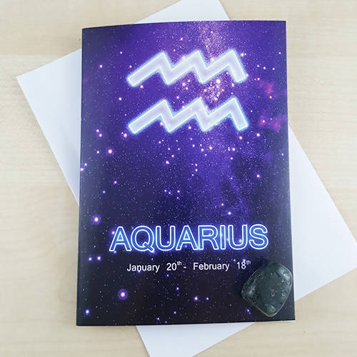 Aquarius Zodiac Birthday Gift Card With Moss Agate Crystal