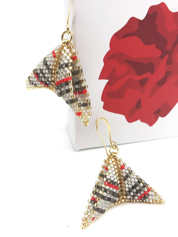 Red Grey Gold Triangle Earrings - The Biscuit Marketplace