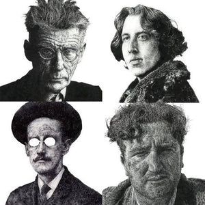 4 portraits of Famous Irish writers GIFT PACKAGE (4 for the price of 2) - James Joyce, Brendan Behan, Oscar Wilde, Samuel Beckett - The Biscuit Marketplace