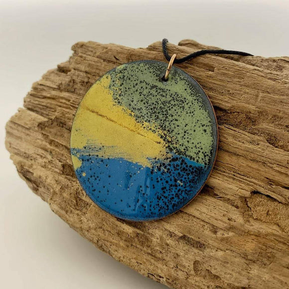 Handcrafted enamelled copper pendant - The Biscuit Marketplace