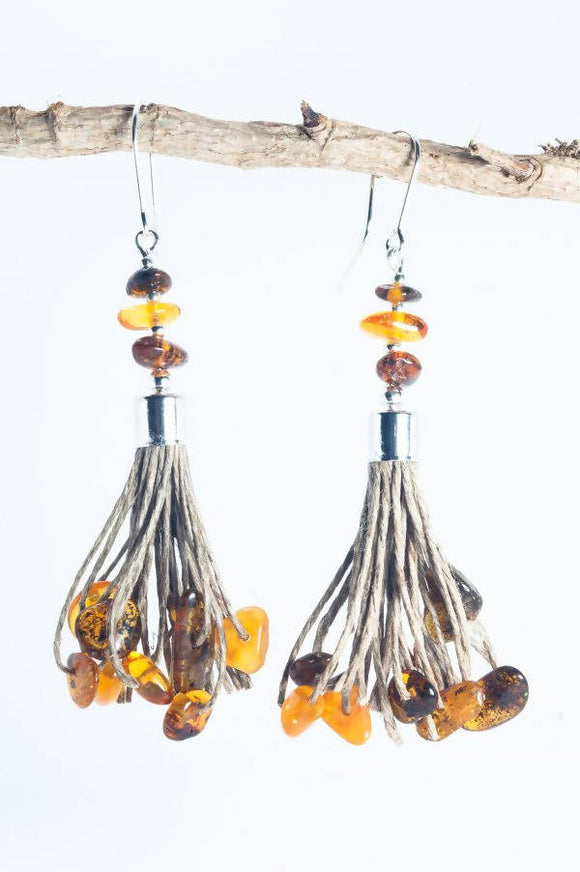 Amber Tassel Earrings V - The Biscuit Marketplace