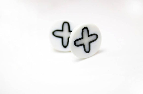 Black White Post Earrings Unisex - The Biscuit Marketplace