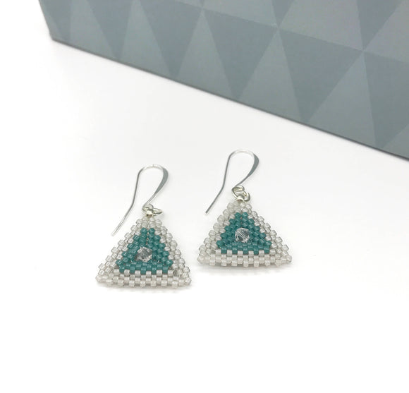 Grey Aquamarine Triangle Crystal Earrings - The Biscuit Marketplace