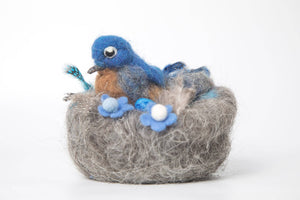 Needle Felted bird/ bluebird in nest/ wool sculpture/bird lovers/ spring nature table/ needle felted birds/ gift/collectable/nest/ art - The Biscuit Marketplace