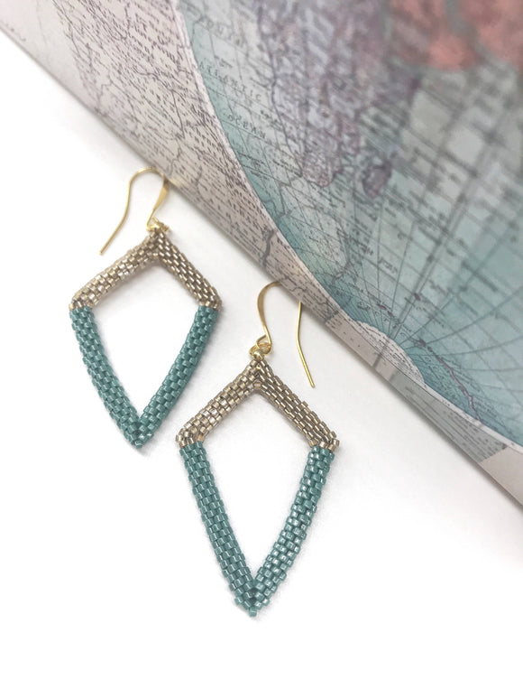 Aqua Green Light Bronze Triangle Earrings - The Biscuit Marketplace