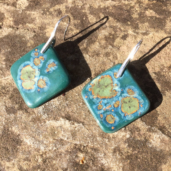 Large Teal, Green, Orange Square Porcelain Drop Earrings
