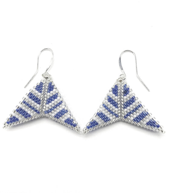 Blue White Silver Boomerang Earrings - The Biscuit Marketplace