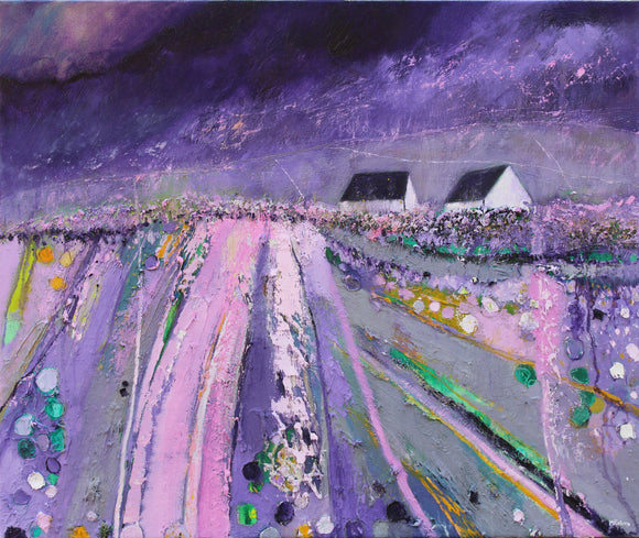 In Purple And Grey - original landscape painting in oil on canvas