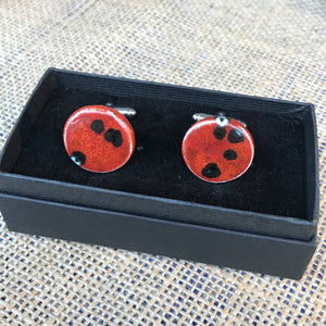 LAVVŌ porcelain and enamel cufflinks: red with black - The Biscuit Marketplace