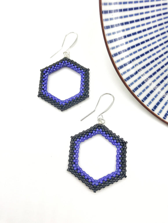 Black and Blue Beaded Hexagon Earrings - The Biscuit Marketplace