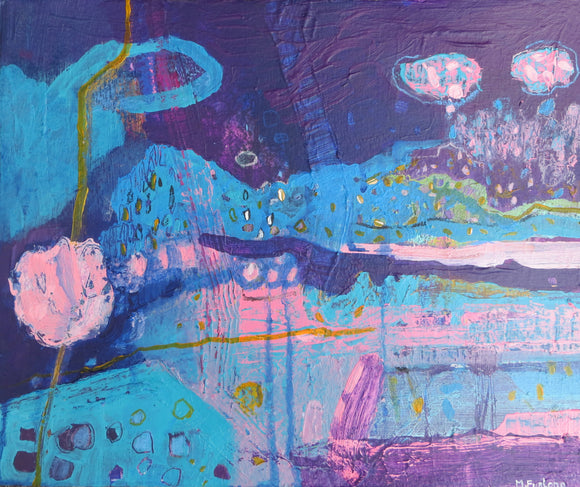 Internal World Study With Purple And Blue 2 - original painting on paper - The Biscuit Marketplace