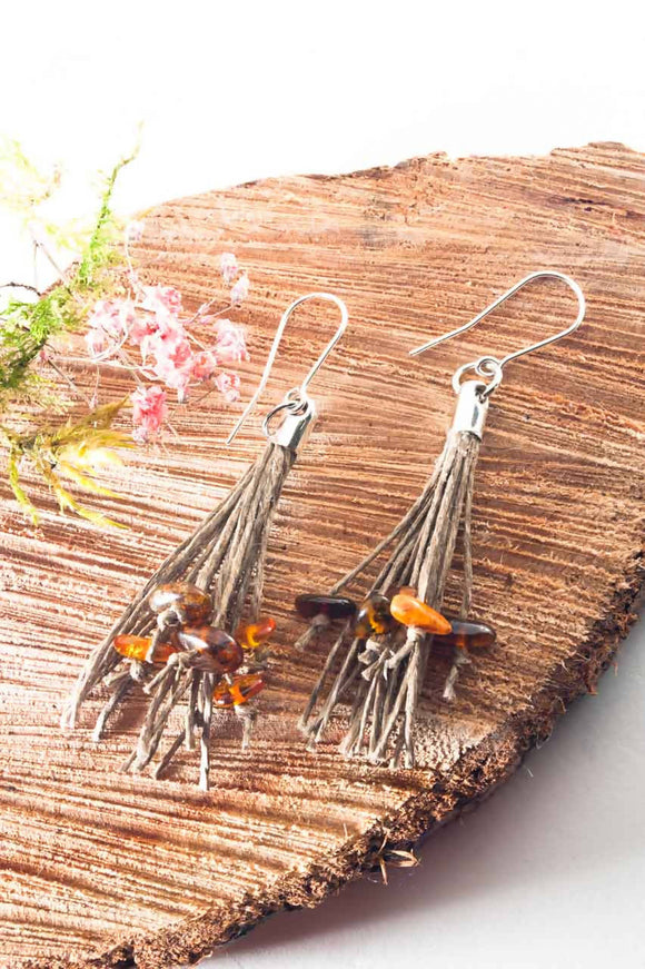 Amber Tassel Earrings III - The Biscuit Marketplace